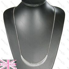 BIG CURVED PENDANT long chain NECKLACE vintage silver plated ETHNIC/INDIAN/AZTEC