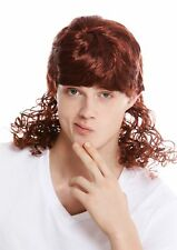 Wig Unisex Carnival Curly Mullet Chav Cantante Red Brown