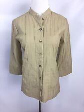 Citron Santa Monica Womens Bamboo Shirt Blouse Tan Beige Button Up Sz PXS
