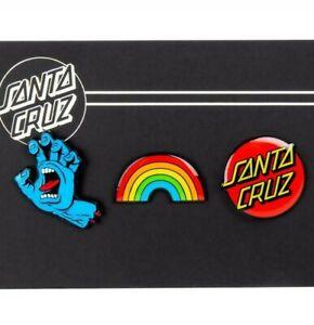 SANTA CRUZ - Pin Set / Badge - Screaming Hand, Dot, Rainbow Skateboard / Skate