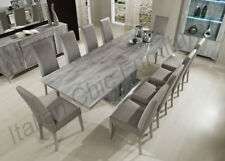 Alexa Italian Dining Room Table with 8 Chairs - High Gloss Grey