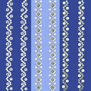 Diamante/Pearl 15cm LONG STRIPS Self Adhesive Craft Border Stick On Trim Edge