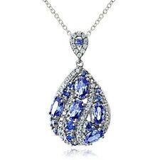 Sterling Silver Simulated Tanzanite and Cubic Zirconia Teardrop Necklace