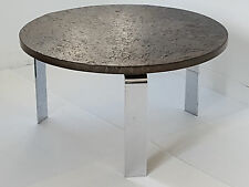 PETER DRAENERT : MAGNIFIQUE TABLE BASSE RONDE EN SCHISTE & CHROME 1960 VINTAGE