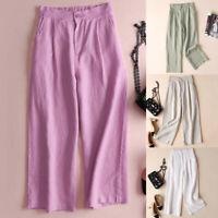 Cotton Linen Wide Leg Women Pants Button Elastic Waist Loose Pocket Casual Pants