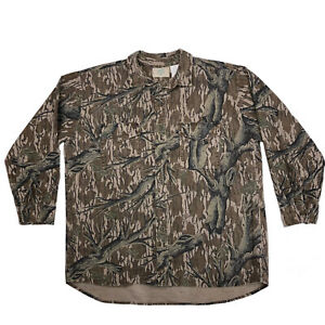 Vtg Mossy Oak Camouflage Shirt Mens XL Long Sleeve Button Up Made In USA