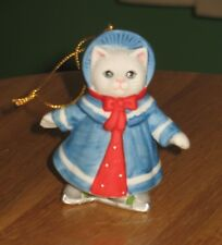 Kitty Cucumber Dressed In Blue Coat And Bonnet Ornament