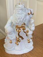 """Vintage Porcelain Santa w Child  Figurine White w Gold Gilt 9.5"""" tall Gorgeous"""