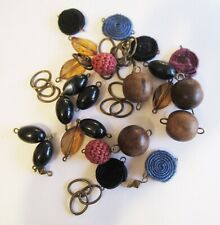 50g Vintage Antiqued Bronze Bead Charm / Connector Mix - Fabric, Wooden, Acrylic