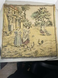 Vintage Woven Tapestry Fabric Wall Hanging Farm/Garden Scene. Made in France