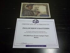 INGLORIOUS BASTERDS FAUX FRENCH ANTIQUE PAPER MONEY MOVIE PROP WITH COA