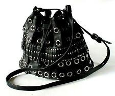 Mango Small Black Faux Leather Crossbody Fringed Bag