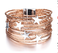 Rose Gold Leather & Silver Star charm MultiLayer Bracelet Bangle, magnetic clasp