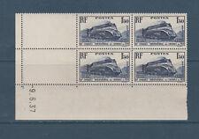 timbre France bloc de 4 coin daté  train chemins de fer 1f50 bleu  num: 340 **