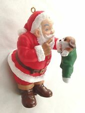 "Hallmark Keepsake 4"" Santa with Puppy Dog Figurine Collector Ornament"
