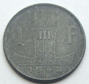 BELGIUM 1 FRANC 1945 OLD ZINC COIN