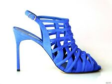 new $1115 MANOLO BLAHNIK Dance2 Blue Francia cobalt suede caged shoes 41.5 11.5