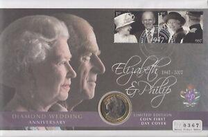 Gibraltar 2007 £2 Coin Elizabeth II Diamond Wedding Coin First Day Cover Auction