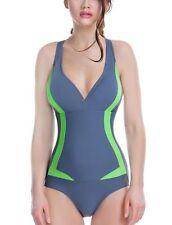 V Neck Patternless Monokinis Plus Size Swimwear for Women