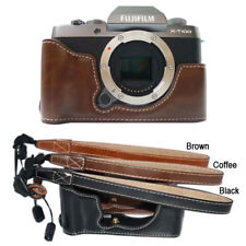 Leather Protector Half case Grip hand strap for Fujifilm X-T100 XT100 Camera