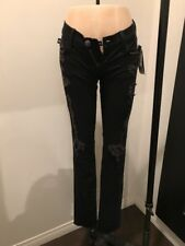 Rock & Republic Black Jeans Distressed Silver Studs Sz 25 NWT