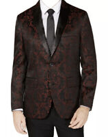 INC International Concepts Mens Medium Red Slim Fit Jacquard Blazer
