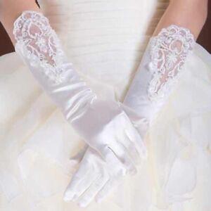 Handschuhe Brauthandschuhe Satin Party Hochzeit Abendmode mit Finger creme, weiß