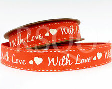 Red With Love 100 Cotton Ribbon 5m Spool Valentines Craft Gift Wrap
