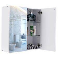 """24"""" Wide Wall Mount Mirrored Medicine Storage Cabinet Organizer Bathroom White"""