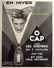 PUBLICITE L'OREAL O CAP LAVE LES CHEVEUX EN 1 MINUTE SIGNE CLAUDE DE 1929 AD PUB