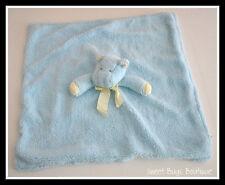 Blue Plush Chamois Velour HIPPO Lovey Security Blanket