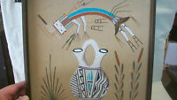INDIAN SAND ART RAINBOW GIRL WITH WEDDING POTTERY VASE by R. JOHNS