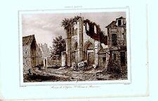GRAVURE SUR ACIER 19è RUINES EGLISE SAINT THOMAS BEAUVAIS FRANCE XIIIème siècle