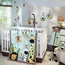 Lambs & Ivy 7 Piece Baby Crib Bedding Set Peek A Boo Jungle with Bumper & Mobile