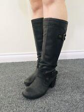 Hush Puppies - Black Leather Ladies Knee-High Boots - Size UK 5 - Mid Heel