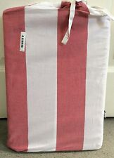 M&S SINGLE BEDSET -DUSTY PINK WITH WHITE THICK STRIPES IN MATCHING BAG- BNWT