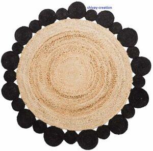 Rug 100% Natural Jute Reversible Carpet Bohe Area Rug Dhurrie Boho Floor Mat Rug