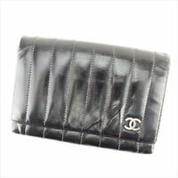 Chanel Wallet Purse Bifold Black Silver Woman Authentic Used T6926