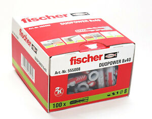 Fischer DUOPOWER Wall Plugs Pack of 100, 8mm x 40mm