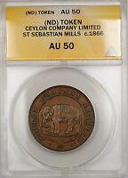 C. 1866 Ceylon Company Limited St. Sebastian Mills Token ANACS AU-50 *Rare* GBr