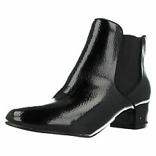 Ladies Anne Michelle F5R0547 Black Crinkle Pu Patent Ankle Boots (R33B)