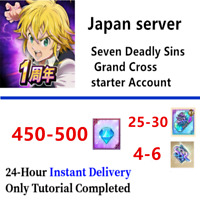 [Instant] JP 450-500 Gem 25-30 SSR Seven Deadly Sins Grand Cross Starter account