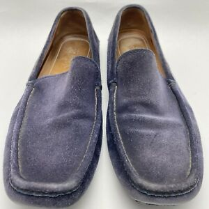 Prada Men's Navy Blue Smooth Suede Driving Moccasin loafers US 9.5 M