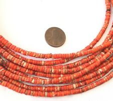 195 Amazing Orange Red ocean Jasper Heishi Gemstone beads-jewelry Making Beads
