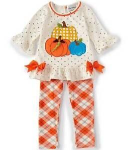 Rare Editions Glitter-Dot Pumpkin Top & Plaid Leggings Set  12 18 24 Months