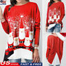 Women Merry Christmas Tunic Tops Blouse Santa Claus Print Long Sleeve T-shirt US