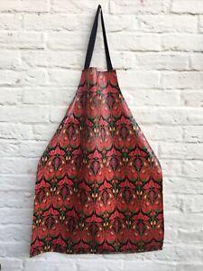 Vintage V&A London Oil Cloth PVC Cotton Apron Ulster Weavers Designed Red Floral