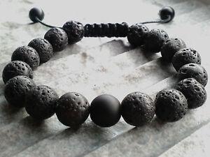 Armband mit Lavastein Perlen Onyx Shamballa Armreif Armschmuck Bracelet