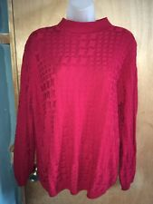 Alfred Dunner Womens M Medium Acrylic Long Sleeve Red Crew Neck Sweater