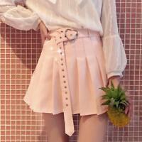Women Harajuku High Waist Pleated Skirt Vintage Heart Belt Summer Skirt College